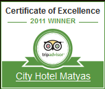Certificate of Excellence - City Hotel Matyas Budapest 2011