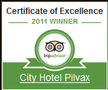 Certificate of Excellence - City Hotel Pilvax Budapest 2011